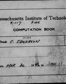 Edgerton Lab Notebook 17, Front Cover